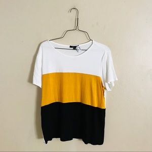 NWT Mustard White and Black Color Blocked Top